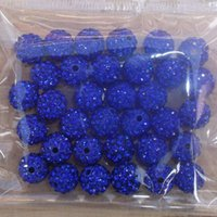Wholesale Freeshipping PC Blue mm Cz Crystal Disco Ball Shamballa Beads fit Gift V0409