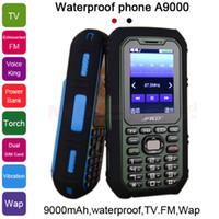 Wholesale 9000mAh long standby power bank torch TV FM voice king Vibration Dual SIM waterproof m whatsapp cell mobile phone A9000 P481