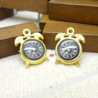 Cheap 50 pcs Charms Alarm Clock Pendant Gold color Zinc Alloy Fit Bracelet Necklace DIY Metal Jewelry Findings