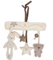 Plush baby mobile musical - rabbit baby cot bed Stroller Hanging Rattle Plush Soft toy musical mobile products