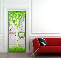 Wholesale The bird style Green nylon wire magnetic soft screen door Hand sewing summer Anti Mosquito screen door HF38 order lt no track