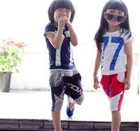 Wholesale Children Sets Letter Short Sleeve Cotton Leisure Summer Outfits A116