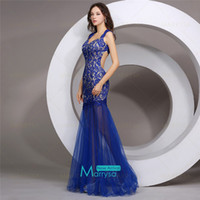 Wholesale Sheer Skirt Sexy Backless Prom Dresses Royal Blue Lace Tulle Sheath Long Party Evening Gowns New Cheap In Stock Formal Wear