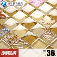 Wholesale Amalfi platinum crystal clear shell mosaic tile HY04 Symphony Mediterranean style backdrop Wall Stickers
