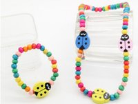 Cheap Free shipping! children's jewelry wooden kids jewelry set necklace bracelet wooden beads girls jewelry sets birthday christmas gifts