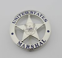 antique courting - The metal badge badge US MARSHAL US Federal Court law enforcement badges silver surface