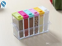 Wholesale Crystal Seasoning Box Pepper Salt Spice Rack Plastic Box Kitchen See Through Storage Containers New