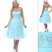 Cheap 2015 Youthful Aqua Prom Dresses Lace Tulle Knee Length Strapless Beaded Custom Made High Quality Homecoming Gowns Vestido Curto Formatura