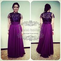al por mayor prom vestidos cortos violeta-Apliques de encaje negro nuevo ver a través de blusa de cuello alto mangas cortas de largo una línea de vestido de baile elegante vestido de madre violeta