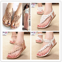 beaded flat shoes - 2014 bohemia sandals for women summer shoes women flip beaded flower flip flop flat sandals