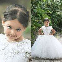 Cheap 2015 Vintage Arabic Wedding Dresses for Girls Custom Made Princess White Formal Gown for Flower Girl Dress Lace Appliques Tulle Skirt
