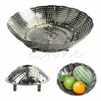 Wholesale Stainless Steel Folding Steamer Steam Vegetable Basket Mesh Cooker Expandable SIZE S