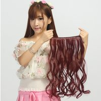 Wholesale Curly Burgundy Hair Extensions - 2015 new goods Hot Flip in Halo Hair Extensions fish hair weft curl candy color free shipping