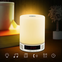 alarm switch box - Wireless Bluetooth Speaker Alarm Clock Touch Switch LED Night Light Music Sound Box Support Hands Free Call TF Card Slot L0440