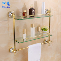 bathroom vanity shelves - European gilding bathroom shelf toilet glass shelf towel rack Double Dresser Gold plate Shelves rack double vanity