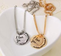 Wholesale I Love You Pendant Necklaces Valentine s Day Gift Silver Gold Color Mix B10