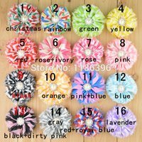 chevron fabric - Chiffon Chevron Ballerina Fabric Flower With Pearl Rhinestone Button For Baby Girls Hair Accessories cm16colors