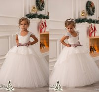 Actual Images flower appliques - 2016 High Quality Custom Made Wedding Flower Girls Dresses with Cap Sleeves Charming Lace Appliques Puffy Tulle Skirt Princess Ball Gowns