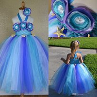 Cheap 2015 Hot Real Image Princess Flower Girls' Dresses With Halter Handmade Flowers Ball Gown Floor Length Tulle Blue Kid Girl Pageant Gowns