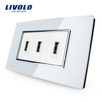 ac socket with usb - Livolo New Arrival US Standard USB Socket White Black Crystal Glass AC V Wall Powerpoints With Plug VL C393USB