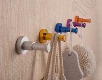 aluminum kitchen doors - 200PCS HHA717 Modern Aluminum alloy Color Hook Hanger Kitchen Door Rear Clothes Wall Hooks Bathroom Hardware Accessories