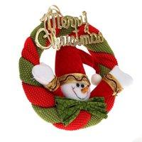Wholesale Christmas Door Decor Wholesale - 20cm Christmas Wreath Hanging Door Decoration Knocker Snowman Decor Ornament H13619