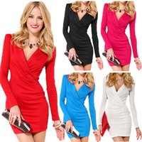 Wholesale Sexy Deep V Neck Women Bodycon Dress Long Sleeve One piece Mini Office Dress Underslip White Red Vestidos Femininos Work Wear G0717