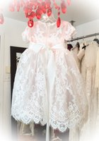 arrival communications - New Arrival Lace Appliqued Christening Dresses For Baby Girls With Sleeves Jewel Neck Pearls Baptism Dress Tulle First Communication Gowns