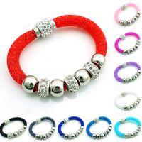 Lien pour perles Avis-Bracelets de lien de mode Stardust Crystal maille maille magnétique Infinity Chain strass perles pour les femmes Bracelets de bricolage Bijoux Bracelets