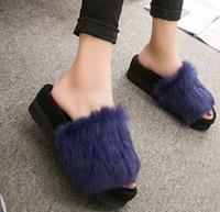 Wholesale 2016 Autumn Fashion Style Designer Flip Flops Women Flat Shoes real fur slippers Women s Platform Shoes Ladies Sandals size35
