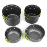Wholesale Hot Outdoor Portable Cookware Cooking Set Anodised Aluminum Non stick Pot Bowl Camping Picnic Hiking Utensils
