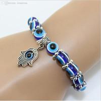 achat en gros de hamsa bracelets à la main à la main-Gros-1PC Hamsa main de Fatima Evil Eye Bracelet main bracelet de perles