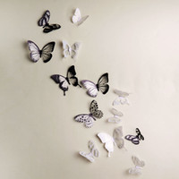 Wholesale 18pcs D Black White Colorful Butterfly Crystal Decor Wall Stickers Home Decor Wall Decals