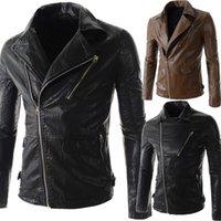 Wholesale 2015 new men s leather jacket Korean catwalks shall Slim leather jacket PU high quality color size hot sale