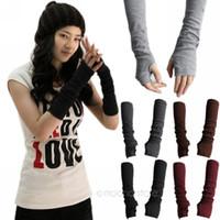 Wholesale 2014 New Fashion Unisex Autumn Winter Hand Arm Crochet Knit Long Stretchy Fingerless Gloves Warm Y51