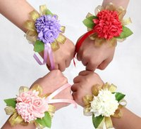 Adults Women Wisteria Wedding Flowers Artificial Wisteria Wedding Flowers In Stock 2015 Red Purple Pink Ivory Brides Bouquets Bridesmaid Hand Rose with Green Leaves Gold Ribbon