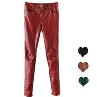 Wholesale Valuable Slim Womens Leggings Competitive Fleece Legging Pants for Ladies PU Leather Material Zipper Fly and Button Design Hot Sale A1318