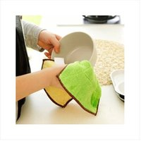 Wholesale Soft and absorbent double thick double sided microfiber cleaning cloth dish towel kitchen dishtowels g