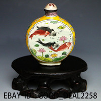 art cloisonne painting - Chinese Cloisonne Hand painted Fish Snuff Bottle w Qianlong Mark