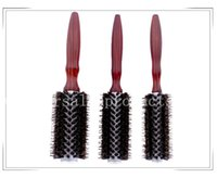 Wholesale 081 bag Curly Hair Comb Brand New High Quality Wood Handle Natural Boar Bristle Hair Brush Fluffy Comb Hairdressing Barber