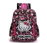 Wholesale Cartoon School Bags for Girls Korean Style Large Black Hello Kitty Double Shoulder Primary School Students School Backpack Children Satchel