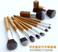 best badger brush - Best quality Professional High Quality Bamboo Makeup Brush Set Goat Hair Cosmetic Makeup Brushes Kit With Bag DHL sets free DHL