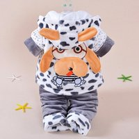 Cheap Free shipping Thick baby sets baby clothes set Winter 2014 baby gilrs boy flannel cartoon puppy 3 pieces(jacket,vest+pants) suit
