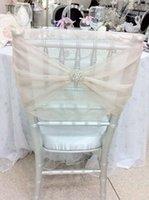 Cheap 2015 Wedding Chair Covers Crystal DIY Romantic Beach Party Sash Decorations!