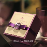 Wholesale Luxury Purple Ribbon Wedding favour box Party Candy Box Favor Gift Boxes wedding box