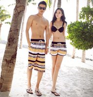 Wholesale 2015 Summer Hot Lovers Board Shorts Linen Couple Pants Beach Apparel Surf Trunks Swimwear Stripes Boardshorts Beachwear Swimming Trunks