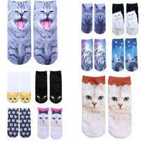 animal food pictures - 2016 New Fashion Cat Cartoon Socks Women Hot Unisex socks Ladies Socks Harajuku Animal Food d printed picture socks Sock Slippers