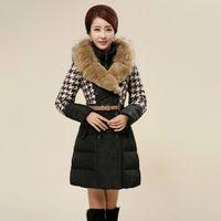 winter jackets for women - New Arrival Winter Jacket Down Coat Plus Size Fashion Raccoon Fur Colloar Houndstooth Outerwear Long Coat Winter Jackets For Women