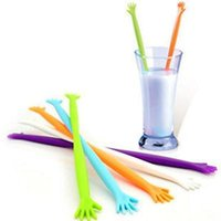Wholesale New Novetly Hand Shaped Drink Stirrer Tools Stirring Juices Drink Mixing Dessert Tools Kitchen Tools ZT