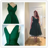 Wholesale Short Overlay Dress Prom - Hunter Green 1950s Short Cocktail Party Dresses Vintage Tea Length Plus Size Overlay Elegant Prom Evening Gowns Custom Made Real Photos New
